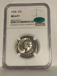 1958 25c Silver Washington Ngc Cac Ms67+ Top Pop Collection