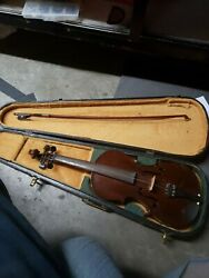 Old Antique Vintage Violin With Vase And Bow