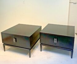 Pair Of Monteverdi-young Dark Mahogany Inlaid End Tables Or Nightstands Mid-cent