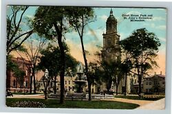 Milwaukee Wi, Court House Park, St Johns Cathedral, Vintage Wisconsin Postcard