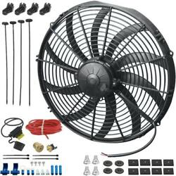 14 Inch 180w Electric Cooling Fan 3/8 Npt 180'f Thermostat Switch Wiring Kit