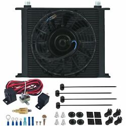 34 Row Trans-mission Oil Cooler Electric Fan 3/8 180'f Thermo Ground Switch Kit