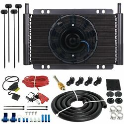 15 Row Trans-mission Oil Cooler 6 Electric Cooling Fan Manual Toggle Switch Kit