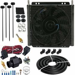 30 Row Trans-mission Oil Cooler 9 Fan 38mm In-line Fitting 180f Temp Switch Kit