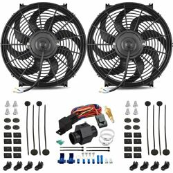 Dual 14 Inch 120w Electric Fan 1.5 In-hose 180'f Thermostat Switch Wiring Kit