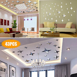 3D Mirror Star Wall Sticker Removable Decal DIY Stickers Home Art Modern Decor