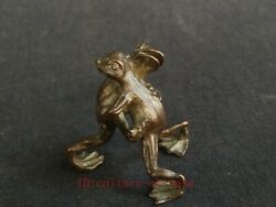 Collection Old China Bronze Carving Lovely Vivid Frog Fight Pendant Decoration