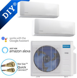 Mrcool Diy18k Btu 22 Seer - 2 Zone Ductless Hp Split Sys - 9+9 A/h 25and039 Line Set