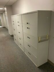White 5-tiered Filing Cabinets 36x18x64 1/2 By Steelcase