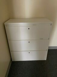 3-tiered White Filing Cabinets