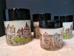 4 Pc. Set Of Vintage Nesting Metal Canisters San Franciscoand039s Victorian 7 Sisters