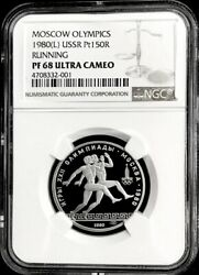 1980 Platinum Russia 150 Roubles Olympics Running Coin Ngc Proof 68 Ultra Cameo