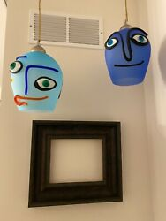 Fab Estate Pair Italian Art Glass Picasso Style Faces Pendant Lights Signed