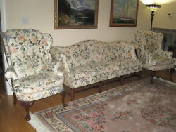 Vintage Southwood Queen Anne Mahogany Wingback Chairs And Sofa