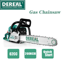 Dereal 62cc-gas-chainsaw 2 Cycle Gasoline Powered Chain Saws Handheld