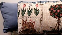 2 Tapestry Pillows Rabbit Flowers Butterflies Easter Spring Cushions