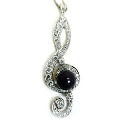 Vintage 14k White Gold Chain With Diamond And Pearl Melody Pendant