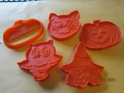 Lot Of 5 Holloween Cookie Cutter Collection Witch Pumpkin Cat Owl Orange Wilton