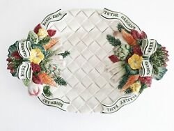 Fitz And Floyd 17 Oval Serving Platter Hand Painted Herb Garden Pattern