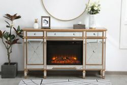 Mirrored Tv Stand Faux Logs Fireplace Insert Combo Cabinet Antique Gold 60 X 36