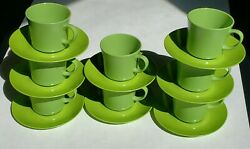 Texas Ware Cups/mugs And Saucers Green Set Of 8