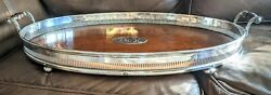 Antique English Oak Wood And Silver Plate Gallery Tray Monogramed  27