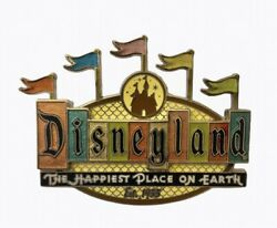 Disneyland 50th Anniversary Happiest Place On Earth Marquee Trading Pin- Retro