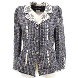 06p 36 Cc Button Single Breasted Long Sleeve Jacket Tweed Navy 41298