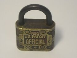Old Solid Brass Lock Reg Us Pat Off Official 4