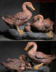 22'' Folk Chinese Wucai Porcelain Animal Duck Whole Family Stand Stone Statue