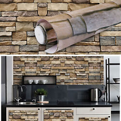 9.8ft*17in 3D Brick Stone Contact Paper Self Adhesive Wallpaper Roll Peel Stick