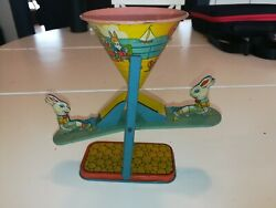 Vintage J Chein Tin Litho Busy Mike See Saw Sand Toy Easter Bunnies