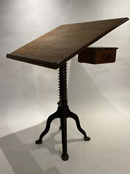 Morse Antique Drafting Table Industrial Cast Iron Spring Loaded Base Rare