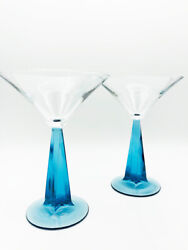 Pair Bombay Sapphire Gin 2002 Holiday Martini Glasses Twisted Blue Stem