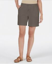 Karen Scott Sport Womenand039s Fitness Workout Athletic Shorts Brown Clay Size Pm