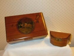 Vintage Wooden Hunting Dog Jewelry/keepsake Box W/mirror Hinged And 1 Small Box