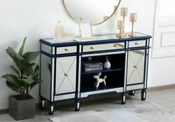 Mirrored Tv Stand Storage Combo Blue Cabinet Credenza Living Dining Room 60 X 36