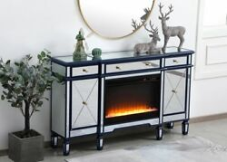 Mirrored Tv Stand Crystal Fireplace Insert Combo Cabinet Credenza Blue 60 X 36