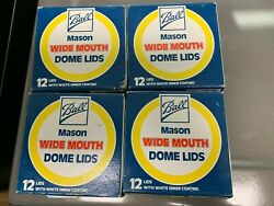 48 Total Vintage Ball Mason Wide Mouth Dome Lids In Open Box Unused Canning Jar