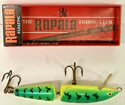 Vintage Rapala Green Floating Jointed Fire Tiger J-9 Bait Lure In Original Box