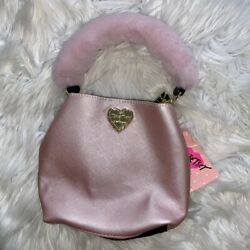 NWT BETSY JOHNSON Pink Bucket Bag Purse with Faux Fur Handle $50.00