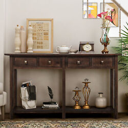 Retro Console Table For Entryway W/drawers And Shelf Living Room Sideboard Grey