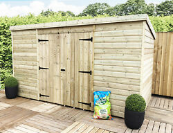14 X 8 Pressure Treated Windowless Tongue And Groove Pent Shed-centre Double Door