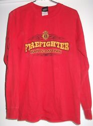 Harley Davidson Motorcycle T-shirt Firefighter Small Red Long Sleeve 100 Cotton