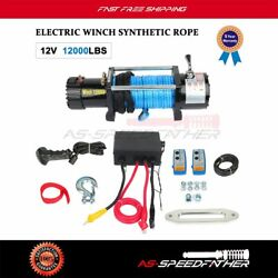 4wd Offroad Electric Winch Recovery Synthetic Rope 12000lbs 26m And Remote