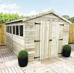 12 X 8 Premier Tongue And Groove Apex Shed - Double Door - 6 Windows