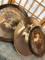 2 Antique Vintage Oval Frames And Photos Of Child Angel Cupid 1 Extra Picture