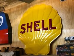 Lqqk Vintage Shell Gas Station Sign Clamshell 48 Garage Mancave Collection Nice