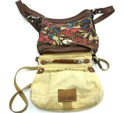 Fossil Woven Fabric And Leather Crossbody Bucket Women#x27;s Bags Lot Of 2 Used Cndt $67.99