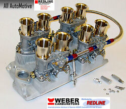 Small Block Chevy 283 327 350 Weber Kit W/intake Linkage And Genuine 44idf Webers